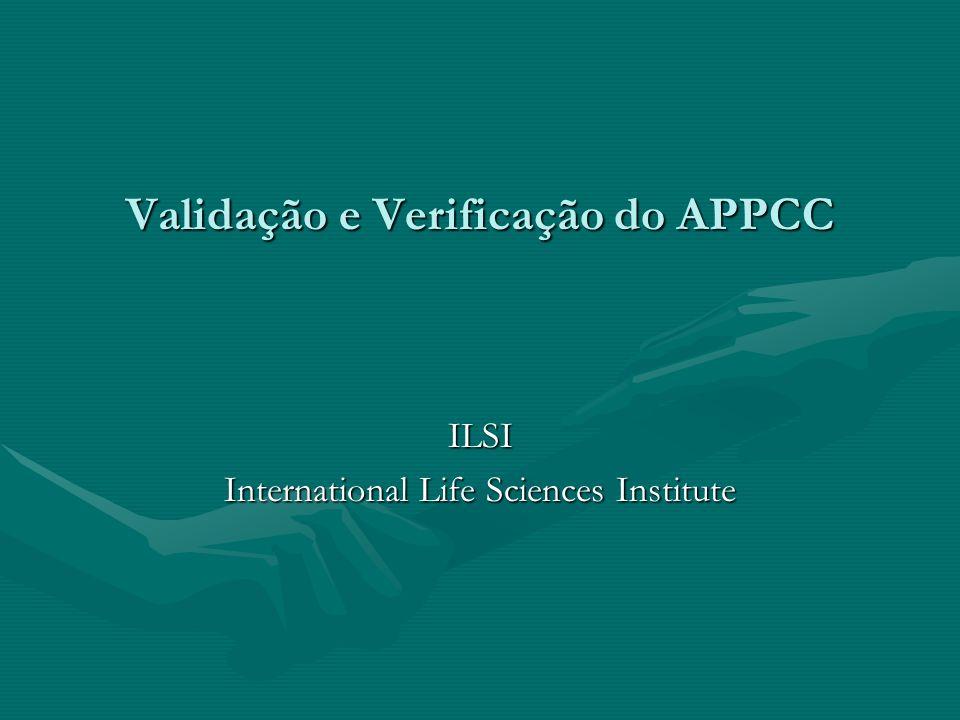 Validação Obtenção de evidências que os elementos do Plano APPCC são efetivosObtenção de evidências que os elementos do Plano APPCC são efetivos –Avaliação dos dados técnicos científicos do Plano APPCC –Informações que suportam o plano APPCC são efetivas.