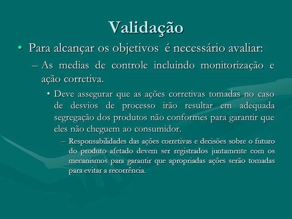 Validação Para alcançar os objetivos é necessário avaliar:Para alcançar os objetivos é necessário avaliar: –As medias de controle incluindo monitoriza