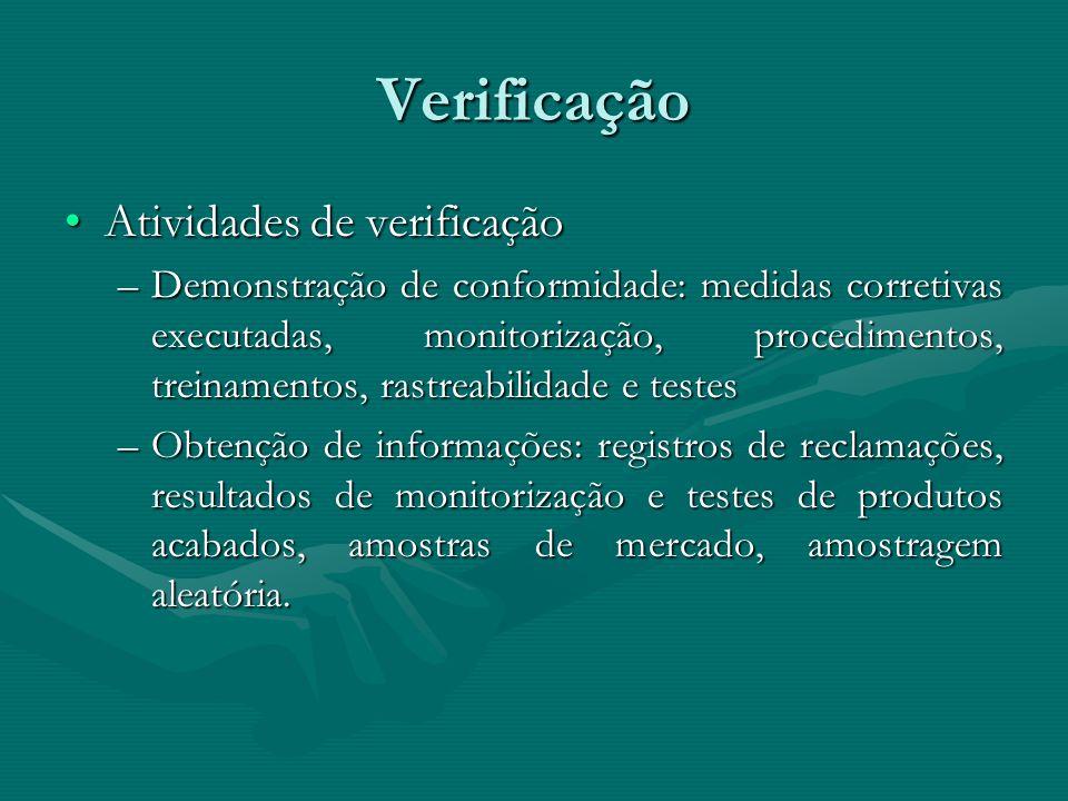Verificação Atividades de verificaçãoAtividades de verificação –Demonstração de conformidade: medidas corretivas executadas, monitorização, procedimen