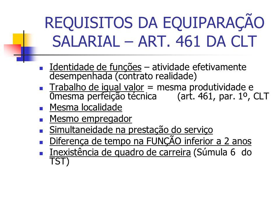REQUISITOS DA EQUIPARAÇÃO SALARIAL – ART. 461 DA CLT Identidade de funções – atividade efetivamente desempenhada (contrato realidade) Trabalho de igua
