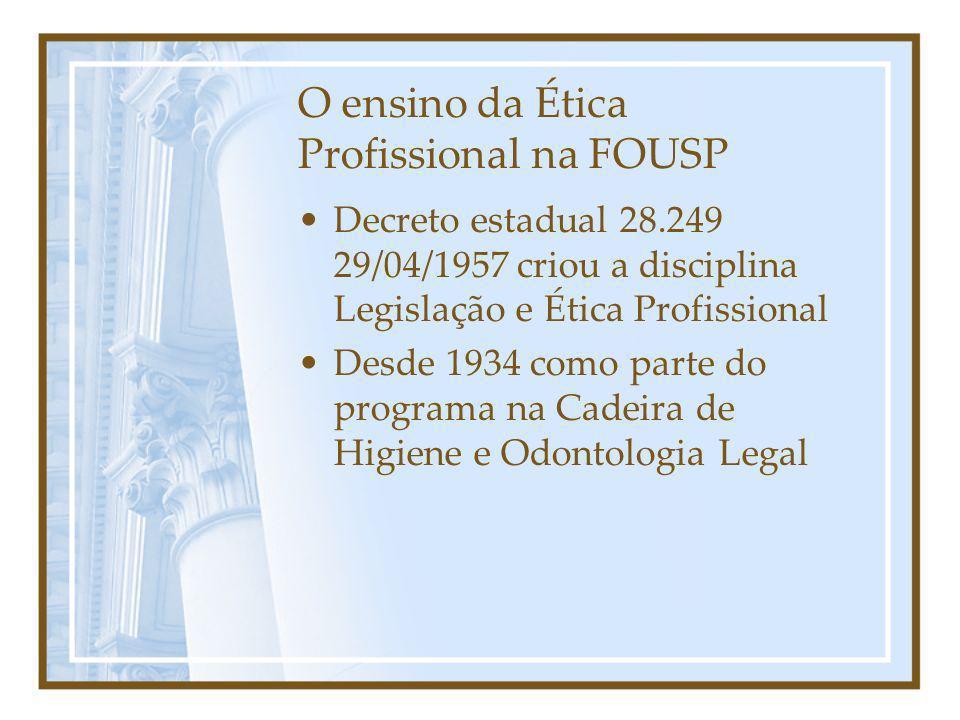 O ensino da Ética Profissional na FOUSP Decreto estadual 28.249 29/04/1957 criou a disciplina Legislação e Ética Profissional Desde 1934 como parte do