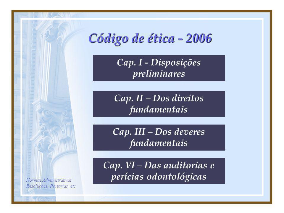 Código de ética - 2006 Cap. I - Disposições preliminares Cap. II – Dos direitos fundamentais Cap. III – Dos deveres fundamentais Cap. VI – Das auditor