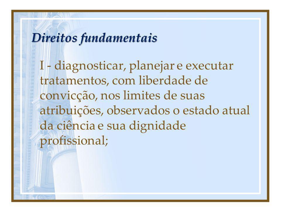 Direitos fundamentais I - diagnosticar, planejar e executar tratamentos, com liberdade de convicção, nos limites de suas atribuições, observados o est