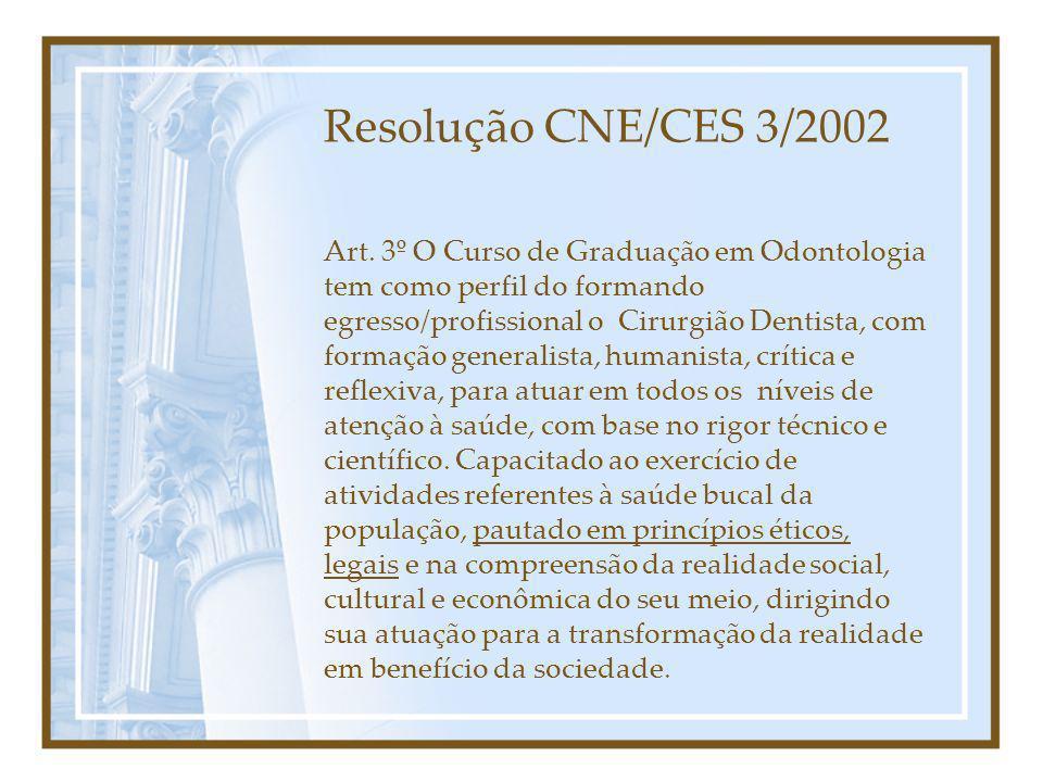 Art. 3º O Curso de Graduação em Odontologia tem como perfil do formando egresso/profissional o Cirurgião Dentista, com formação generalista, humanista