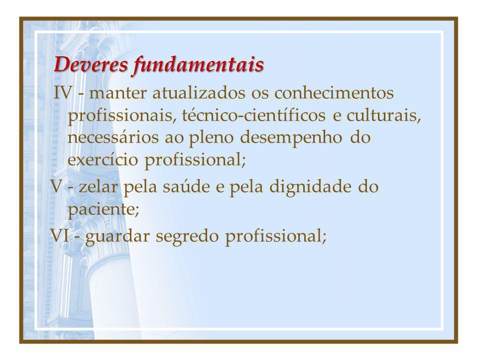 Deveres fundamentais IV - manter atualizados os conhecimentos profissionais, técnico-científicos e culturais, necessários ao pleno desempenho do exerc