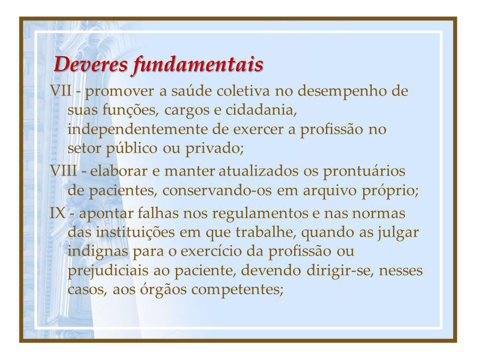 Deveres fundamentais VII - promover a saúde coletiva no desempenho de suas funções, cargos e cidadania, independentemente de exercer a profissão no se