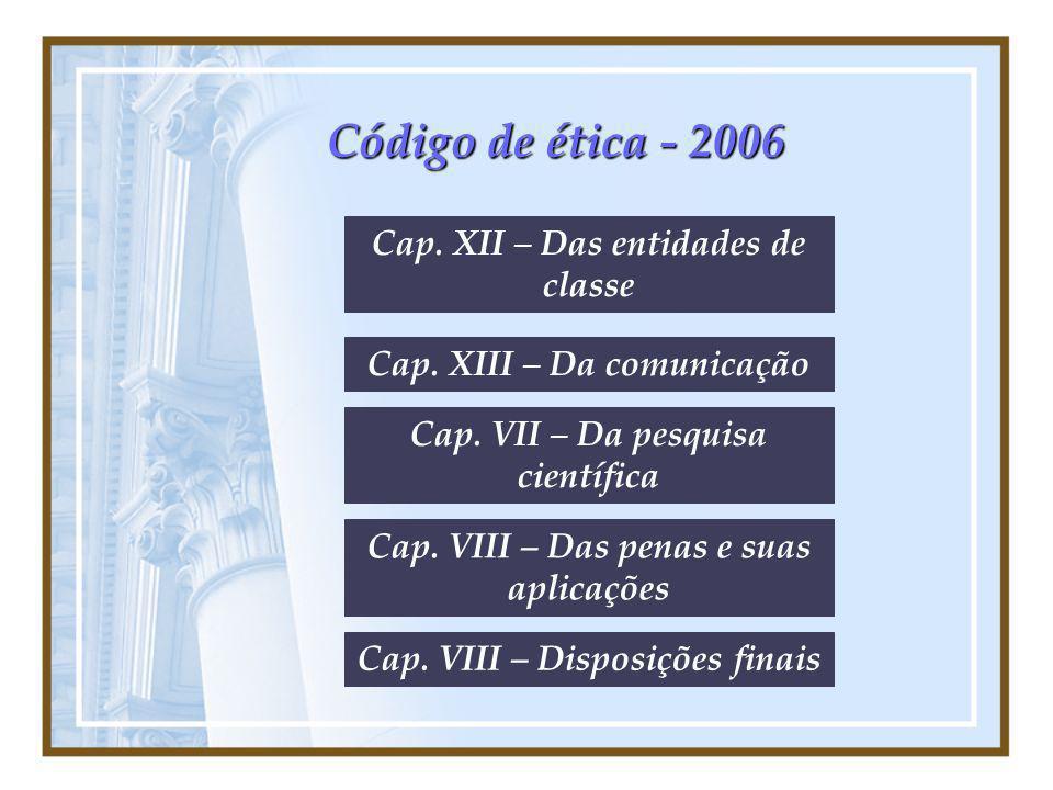 Código de ética - 2006 Cap. XII – Das entidades de classe Cap. XIII – Da comunicação Cap. VIII – Das penas e suas aplicações Cap. VII – Da pesquisa ci