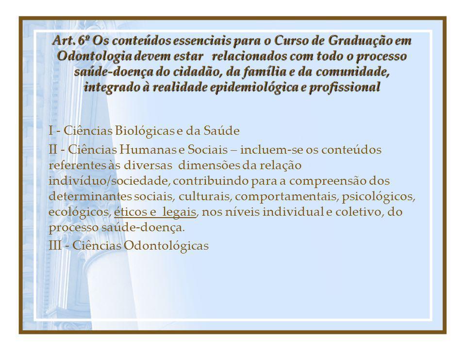 Art. 6º Os conteúdos essenciais para o Curso de Graduação em Odontologia devem estar relacionados com todo o processo saúde-doença do cidadão, da famí
