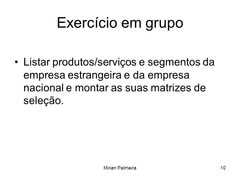 Mirian Palmeira10 Exercício em grupo Listar produtos/serviços e segmentos da empresa estrangeira e da empresa nacional e montar as suas matrizes de seleção.