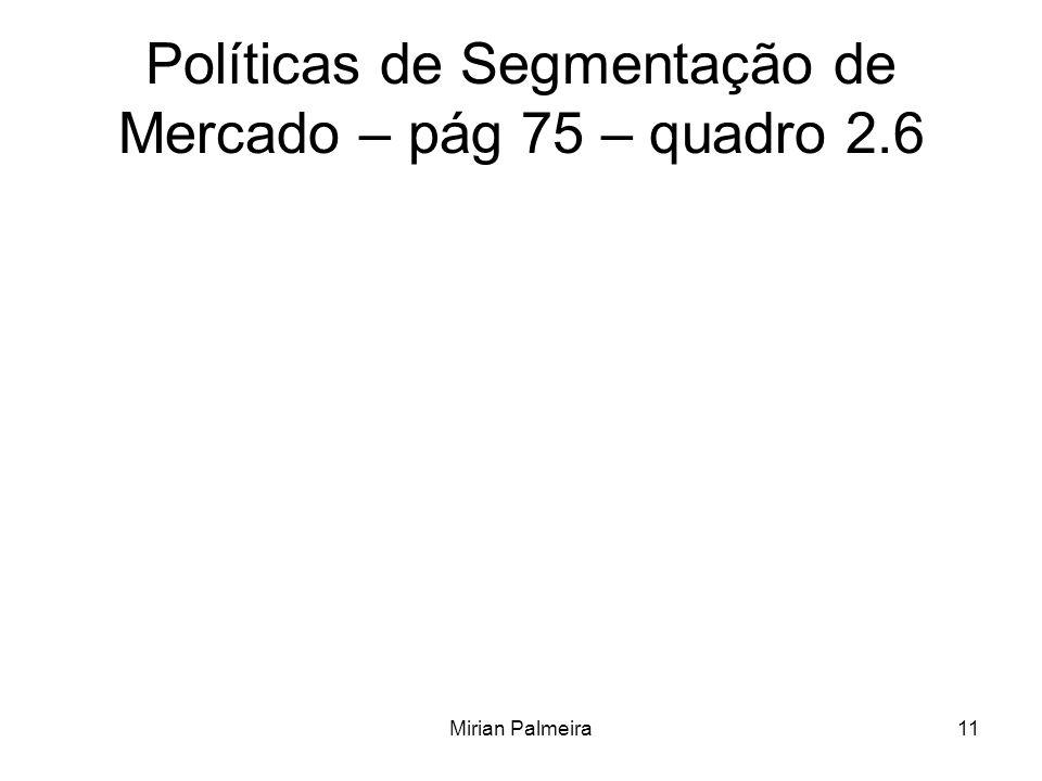 Mirian Palmeira11 Políticas de Segmentação de Mercado – pág 75 – quadro 2.6