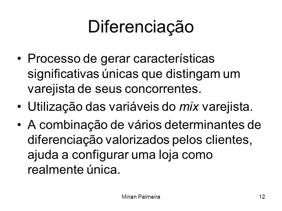 Mirian Palmeira12 Diferenciação Processo de gerar características significativas únicas que distingam um varejista de seus concorrentes. Utilização da