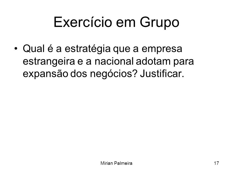 Mirian Palmeira17 Exercício em Grupo Qual é a estratégia que a empresa estrangeira e a nacional adotam para expansão dos negócios? Justificar.