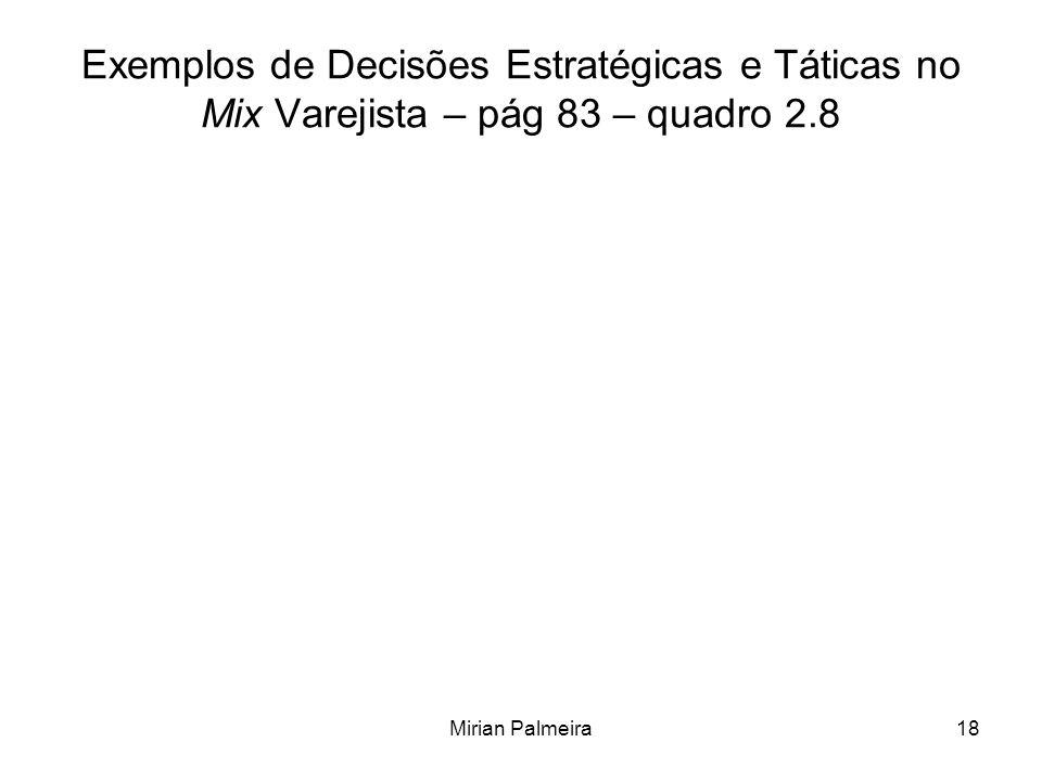 Mirian Palmeira18 Exemplos de Decisões Estratégicas e Táticas no Mix Varejista – pág 83 – quadro 2.8