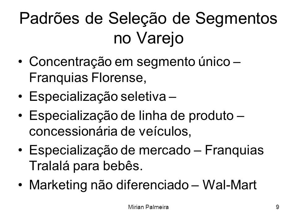 Mirian Palmeira9 Padrões de Seleção de Segmentos no Varejo Concentração em segmento único – Franquias Florense, Especialização seletiva – Especializaç