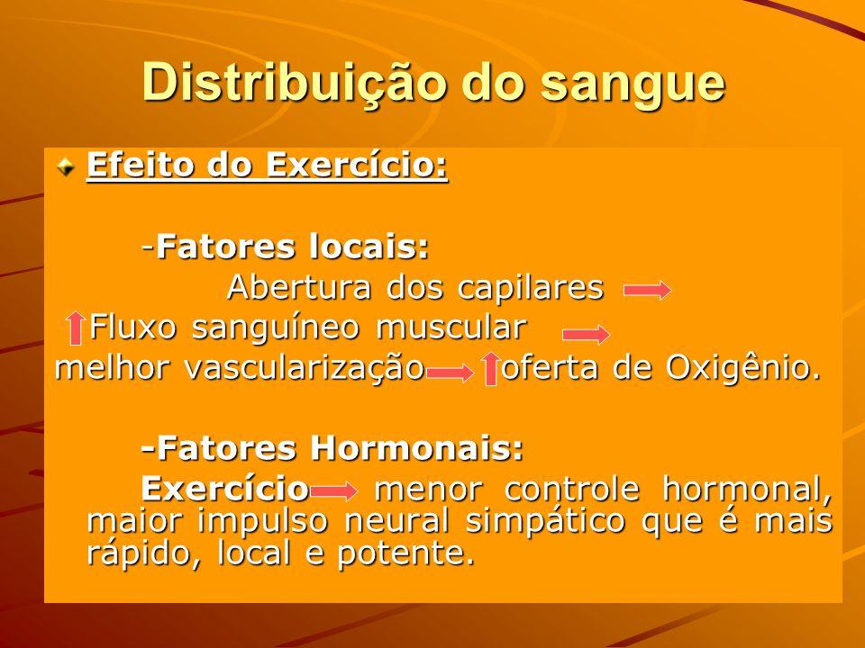 Distribuição do sangue Efeito do Exercício: -Fatores locais: Abertura dos capilares Fluxo sanguíneo muscular Fluxo sanguíneo muscular melhor vasculari