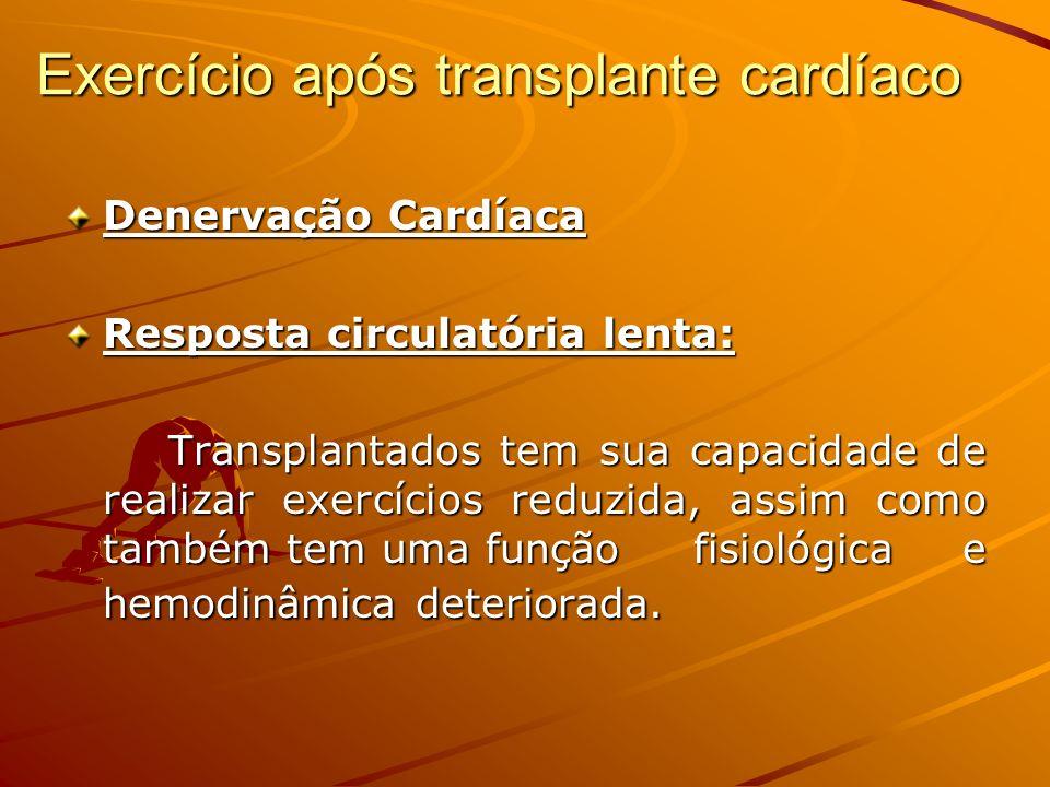 Exercício após transplante cardíaco Denervação Cardíaca Resposta circulatória lenta: Transplantados tem sua capacidade de realizar exercícios reduzida