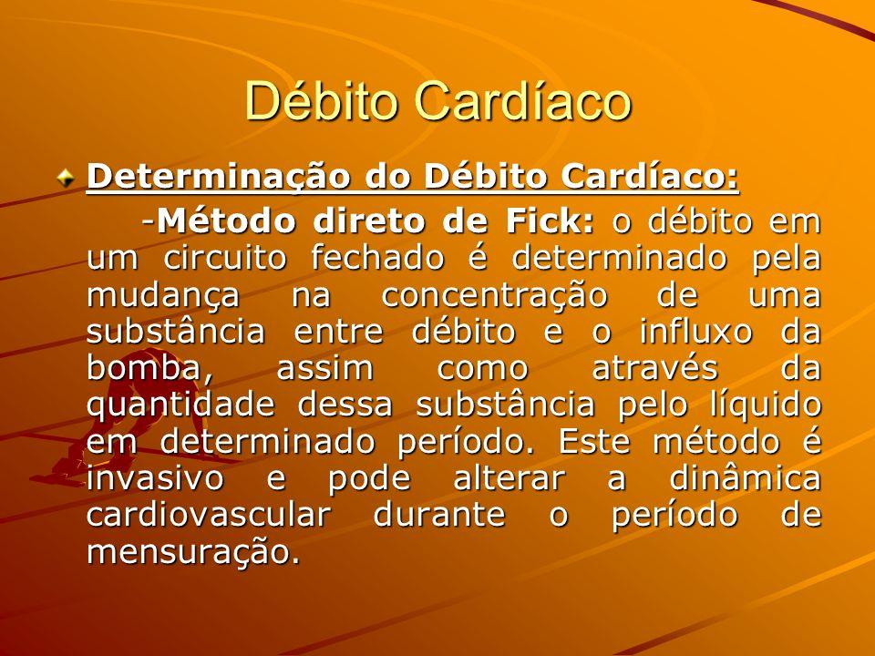 Débito Cardíaco Determinação do Débito Cardíaco: -Método direto de Fick: o débito em um circuito fechado é determinado pela mudança na concentração de