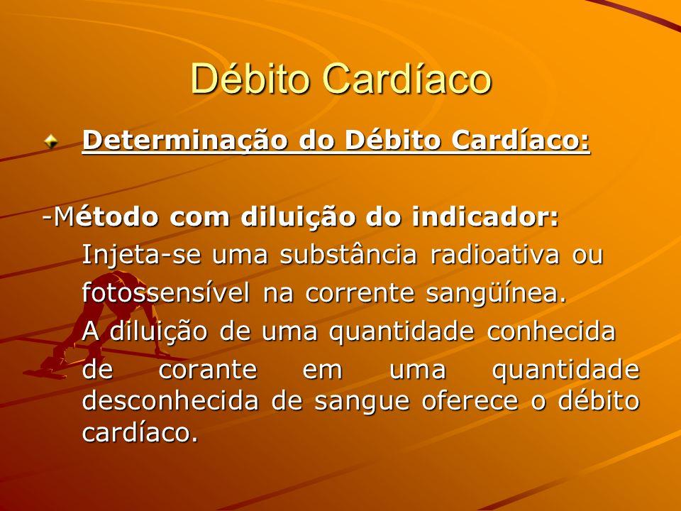 Débito Cardíaco Determinação do Débito Cardíaco: -Método com diluição do indicador: Injeta-se uma substância radioativa ou fotossensível na corrente s