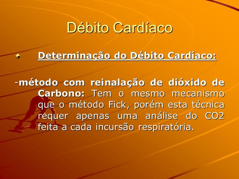 Débito Cardíaco Determinação do Débito Cardíaco: -método com reinalação de dióxido de Carbono: Tem o mesmo mecanismo que o método Fick, porém esta téc