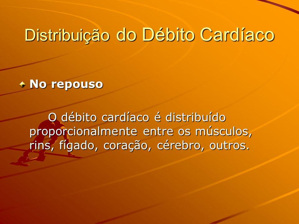 Distribuição do Débito Cardíaco No repouso O débito cardíaco é distribuído proporcionalmente entre os músculos, rins, fígado, coração, cérebro, outros
