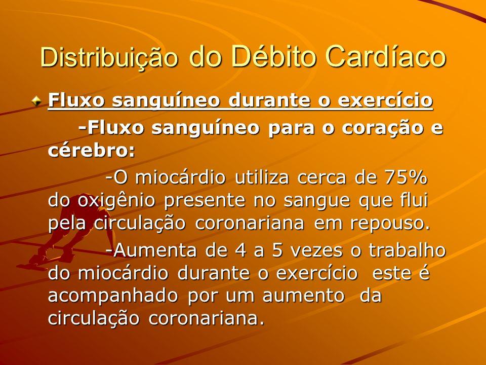 Distribuição do Débito Cardíaco Fluxo sanguíneo durante o exercício -Fluxo sanguíneo para o coração e cérebro: -O miocárdio utiliza cerca de 75% do ox