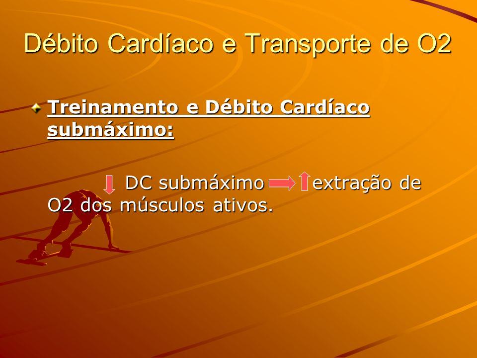 Débito Cardíaco e Transporte de O2 Treinamento e Débito Cardíaco submáximo: DC submáximo extração de O2 dos músculos ativos.
