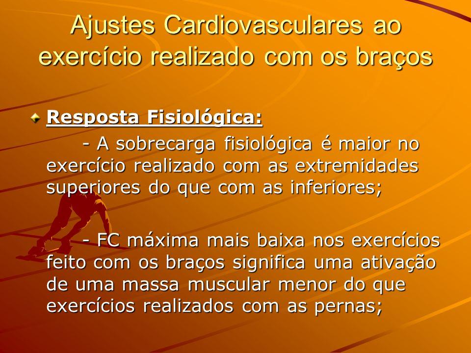 Ajustes Cardiovasculares ao exercício realizado com os braços Resposta Fisiológica: - A sobrecarga fisiológica é maior no exercício realizado com as e