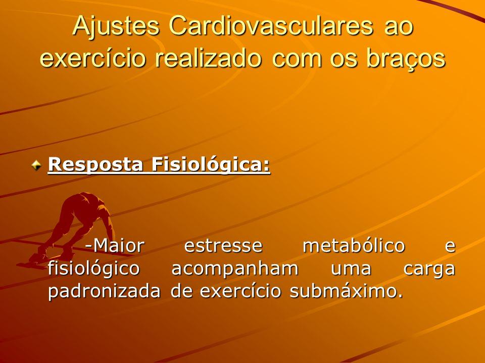 Ajustes Cardiovasculares ao exercício realizado com os braços Resposta Fisiológica: -Maior estresse metabólico e fisiológico acompanham uma carga padr