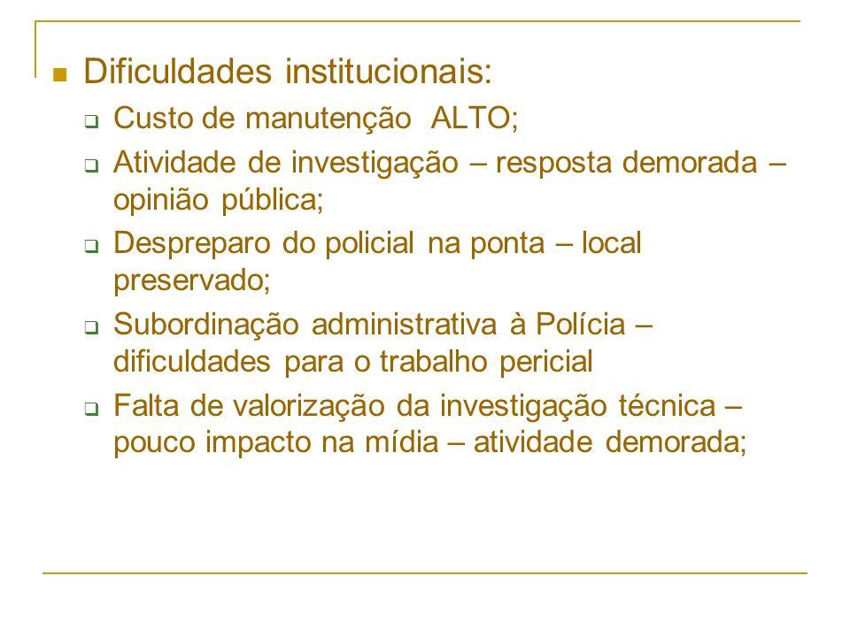 Dificuldades institucionais: Custo de manutenção ALTO; Atividade de investigação – resposta demorada – opinião pública; Despreparo do policial na pont