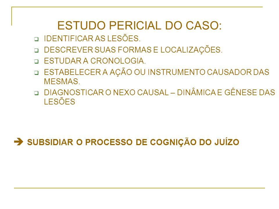 ESTUDO PERICIAL DO CASO: IDENTIFICAR AS LESÕES. DESCREVER SUAS FORMAS E LOCALIZAÇÕES. ESTUDAR A CRONOLOGIA. ESTABELECER A AÇÃO OU INSTRUMENTO CAUSADOR