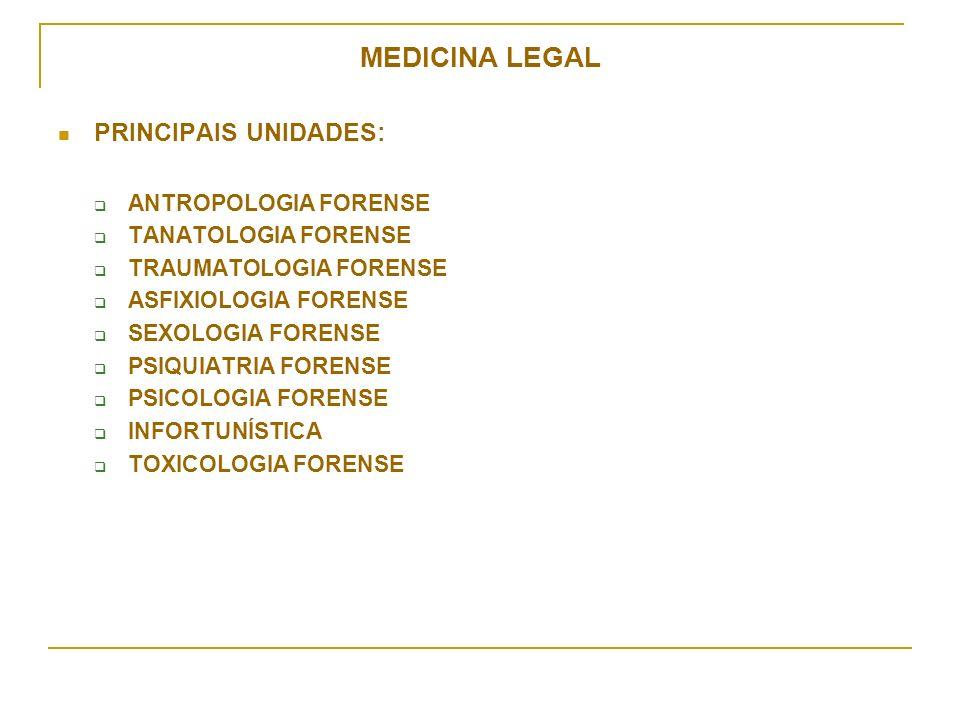MEDICINA LEGAL PRINCIPAIS UNIDADES: ANTROPOLOGIA FORENSE TANATOLOGIA FORENSE TRAUMATOLOGIA FORENSE ASFIXIOLOGIA FORENSE SEXOLOGIA FORENSE PSIQUIATRIA FORENSE PSICOLOGIA FORENSE INFORTUNÍSTICA TOXICOLOGIA FORENSE