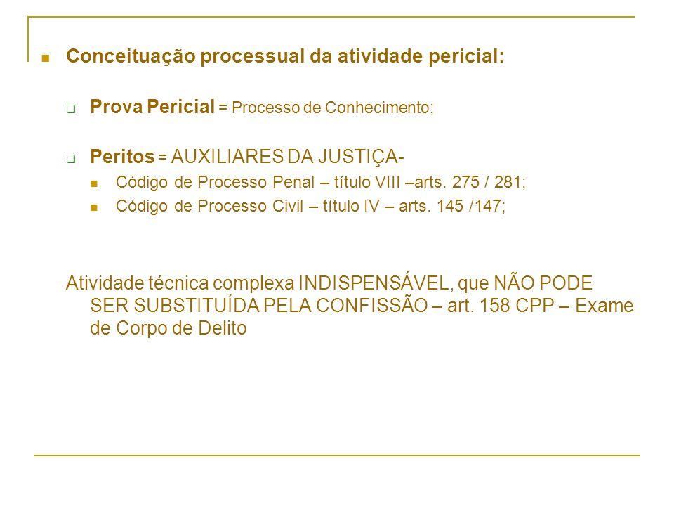 Conceituação processual da atividade pericial: Prova Pericial = Processo de Conhecimento; Peritos = AUXILIARES DA JUSTIÇA- Código de Processo Penal –