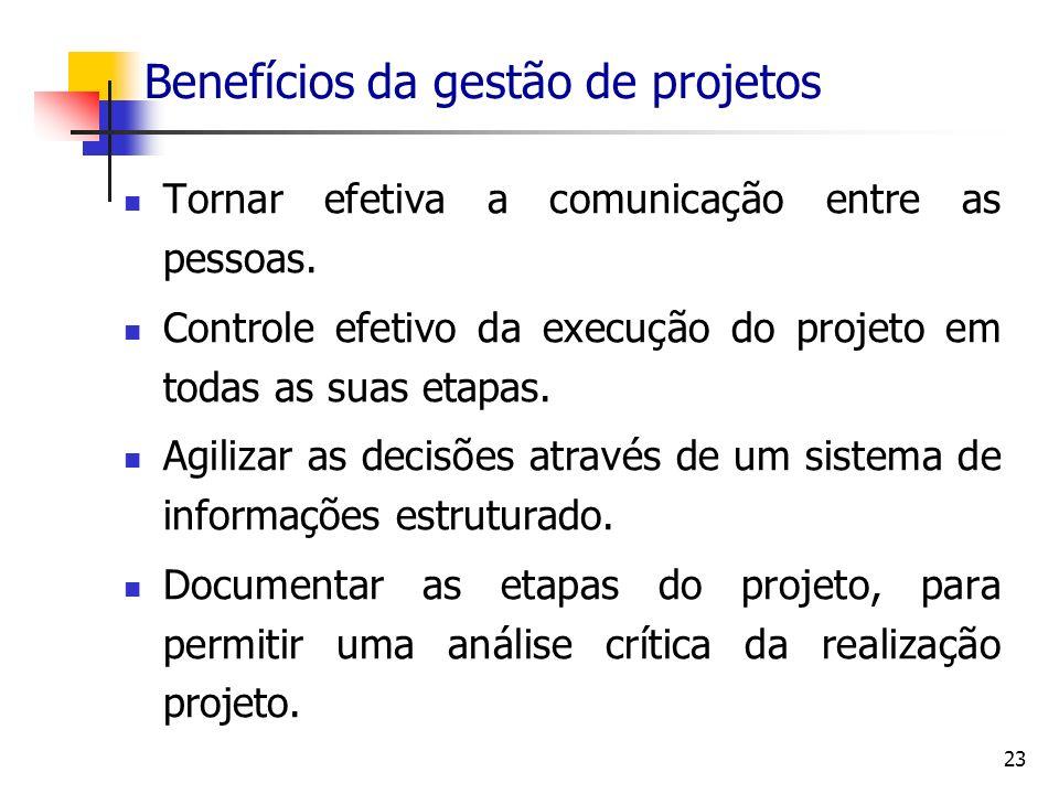 23 Benefícios da gestão de projetos Tornar efetiva a comunicação entre as pessoas. Controle efetivo da execução do projeto em todas as suas etapas. Ag