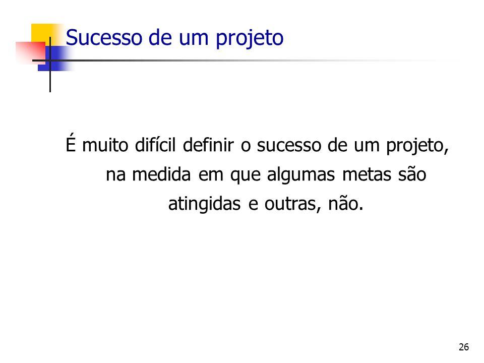 26 Sucesso de um projeto É muito difícil definir o sucesso de um projeto, na medida em que algumas metas são atingidas e outras, não.