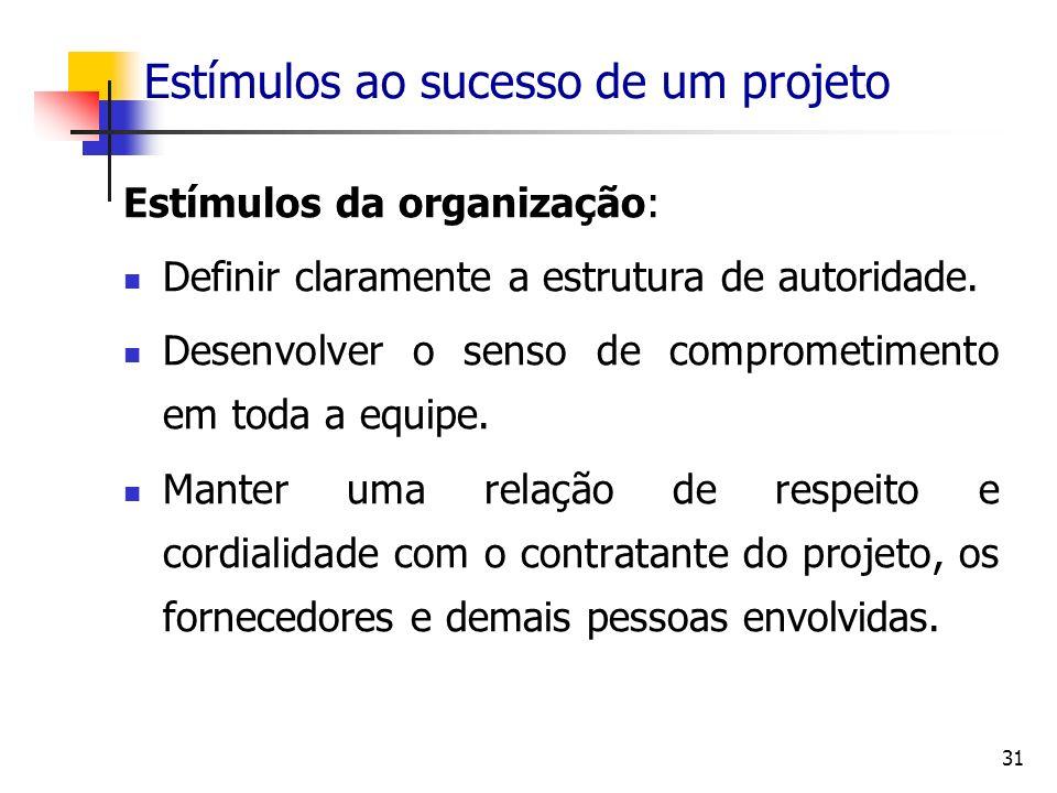 31 Estímulos ao sucesso de um projeto Estímulos da organização: Definir claramente a estrutura de autoridade. Desenvolver o senso de comprometimento e