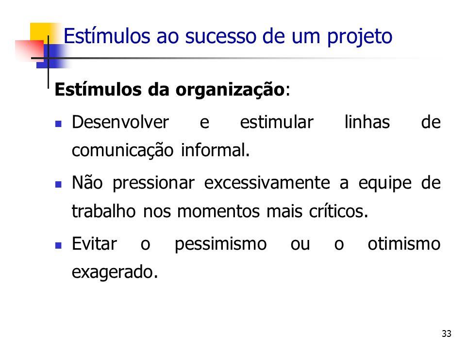 33 Estímulos ao sucesso de um projeto Estímulos da organização: Desenvolver e estimular linhas de comunicação informal. Não pressionar excessivamente