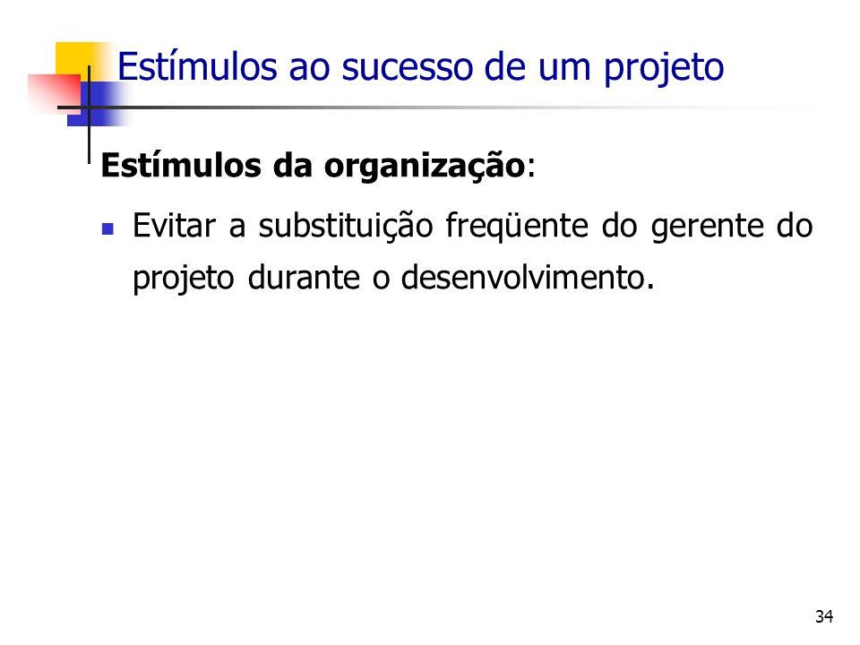 34 Estímulos ao sucesso de um projeto Estímulos da organização: Evitar a substituição freqüente do gerente do projeto durante o desenvolvimento.