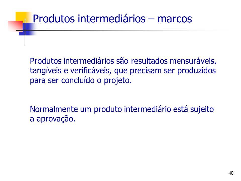 40 Produtos intermediários – marcos Produtos intermediários são resultados mensuráveis, tangíveis e verificáveis, que precisam ser produzidos para ser