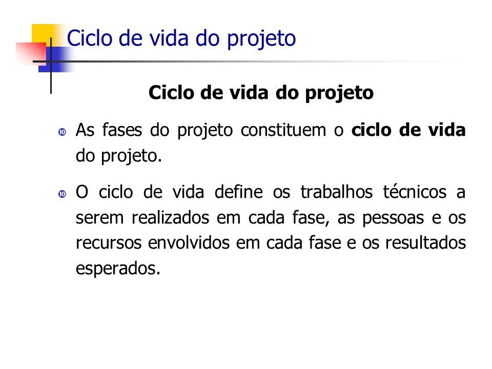 Ciclo de vida do projeto As fases do projeto constituem o ciclo de vida do projeto. O ciclo de vida define os trabalhos técnicos a serem realizados em