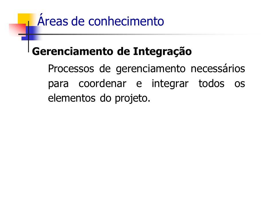 Áreas de conhecimento Gerenciamento de Integração Processos de gerenciamento necessários para coordenar e integrar todos os elementos do projeto.