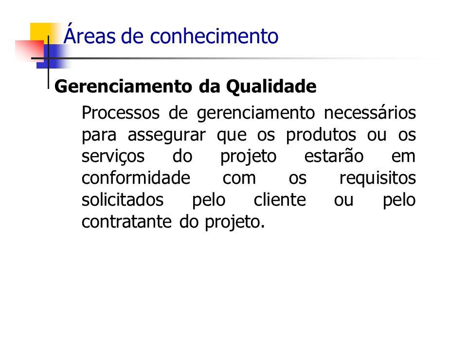 Áreas de conhecimento Gerenciamento da Qualidade Processos de gerenciamento necessários para assegurar que os produtos ou os serviços do projeto estar
