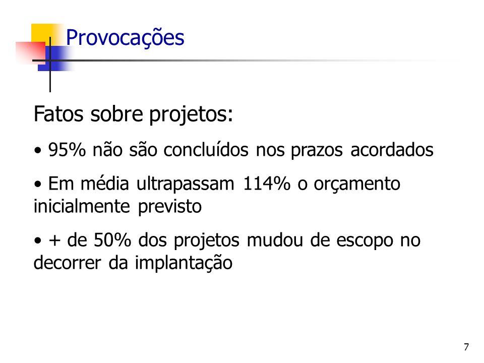 7 Provocações Fatos sobre projetos: 95% não são concluídos nos prazos acordados Em média ultrapassam 114% o orçamento inicialmente previsto + de 50% d