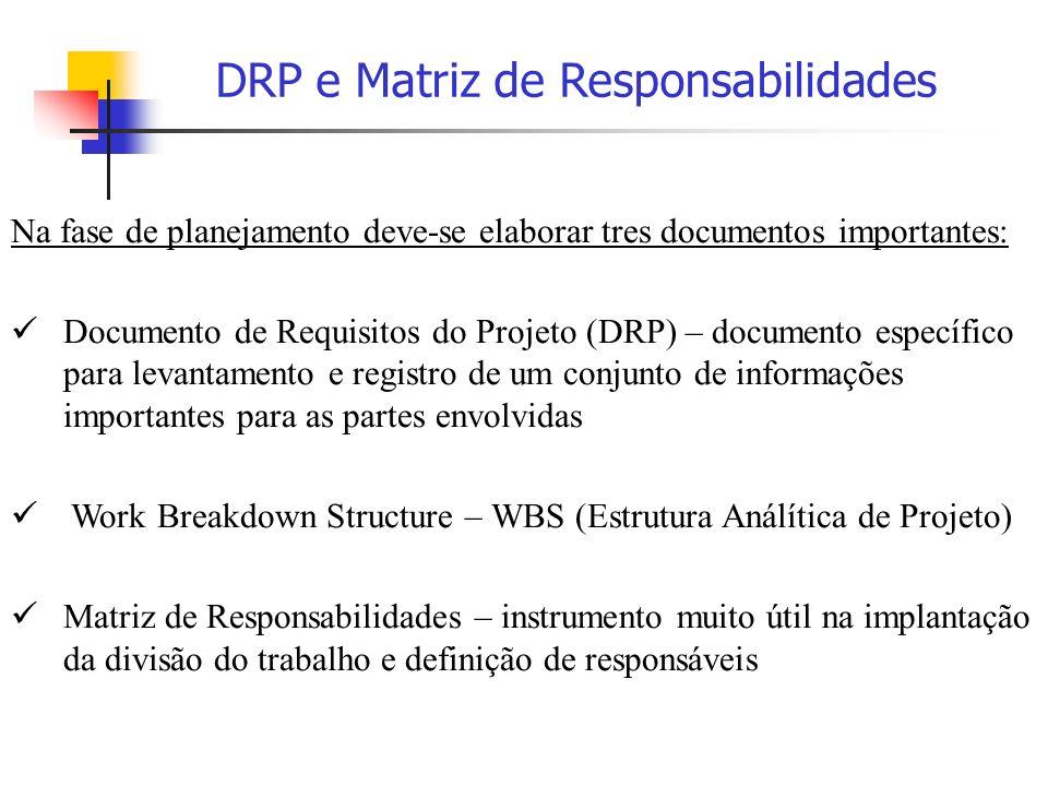 Na fase de planejamento deve-se elaborar tres documentos importantes: Documento de Requisitos do Projeto (DRP) – documento específico para levantament