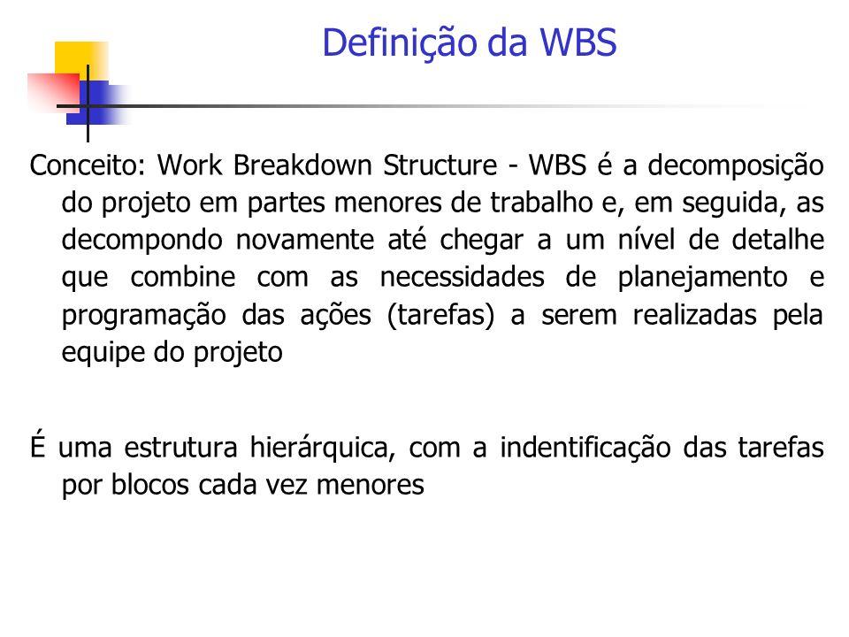 Definição da WBS Conceito: Work Breakdown Structure - WBS é a decomposição do projeto em partes menores de trabalho e, em seguida, as decompondo novam