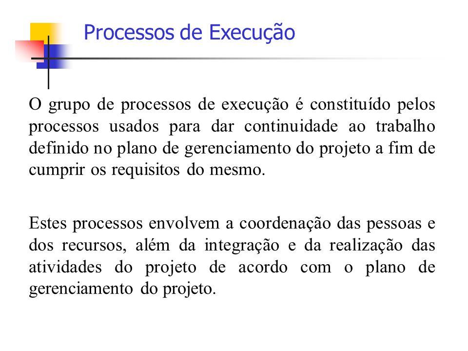 O grupo de processos de execução é constituído pelos processos usados para dar continuidade ao trabalho definido no plano de gerenciamento do projeto