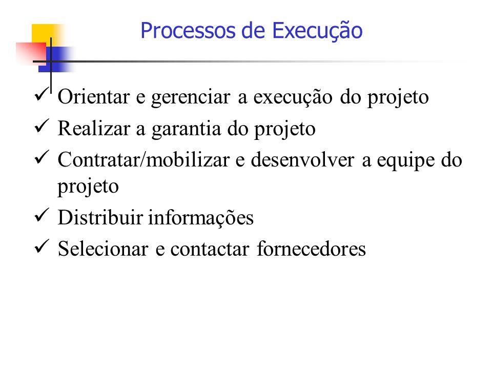 Orientar e gerenciar a execução do projeto Realizar a garantia do projeto Contratar/mobilizar e desenvolver a equipe do projeto Distribuir informações