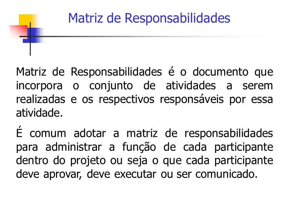 Matriz de Responsabilidades Matriz de Responsabilidades é o documento que incorpora o conjunto de atividades a serem realizadas e os respectivos respo