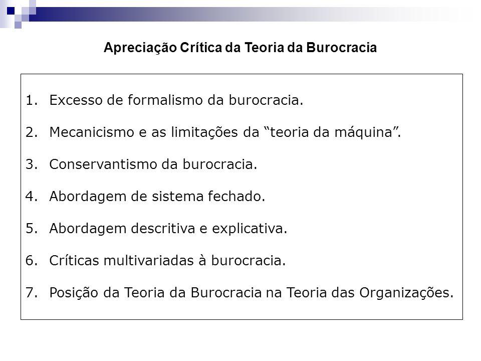 Apreciação Crítica da Teoria da Burocracia 1.Excesso de formalismo da burocracia. 2.Mecanicismo e as limitações da teoria da máquina. 3.Conservantismo