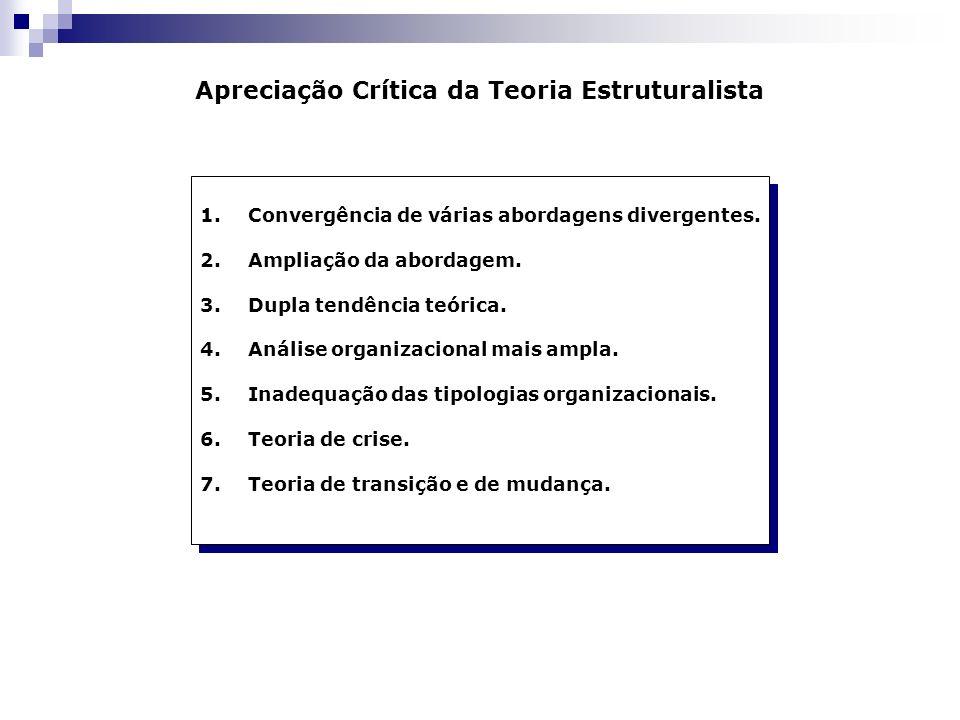 Apreciação Crítica da Teoria Estruturalista 1.Convergência de várias abordagens divergentes. 2.Ampliação da abordagem. 3.Dupla tendência teórica. 4.An