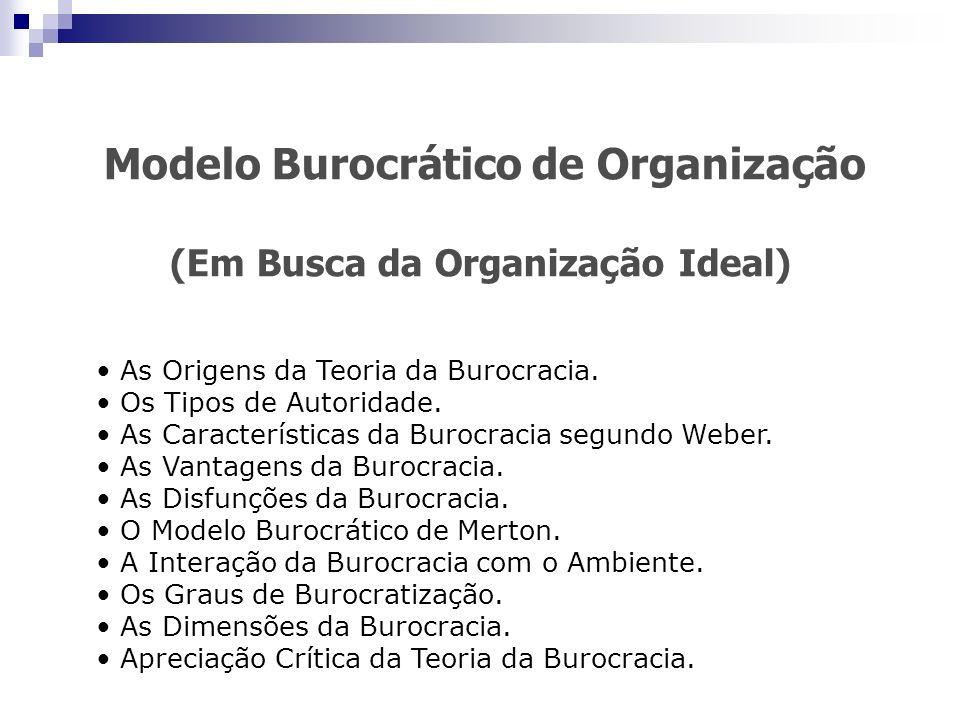 Modelo Burocrático de Organização (Em Busca da Organização Ideal) As Origens da Teoria da Burocracia. Os Tipos de Autoridade. As Características da Bu
